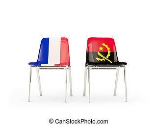 chaises, drapeaux, angola, deux, france