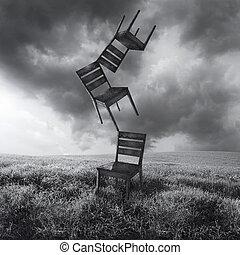 chaises, en mouvement