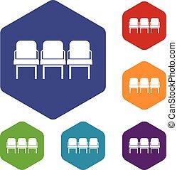 chaises, ensemble, couloir départ, icônes