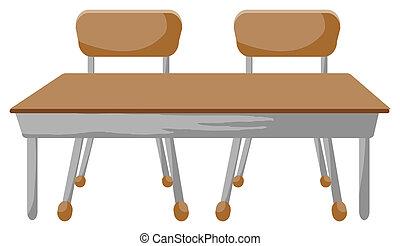 chaises, et, bureau