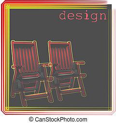 chaises, extérieur, illustration