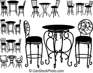 chaises, grand, vecteur, collection
