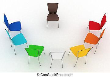 chaises, half-round, coûts, groupe