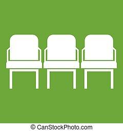 chaises, icône, vert, couloir départ