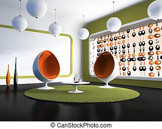 chaises, intérieur, blanc, moderne, table