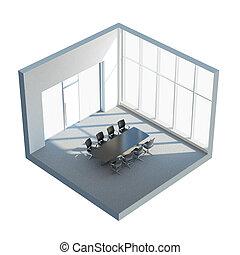 chaises, intérieur, bureau, table
