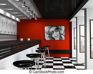 chaises, intérieur, cafétéria, barre, mode