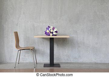 chaises, intérieur, flowers., moderne, table