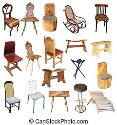 chaises, isolé, collection