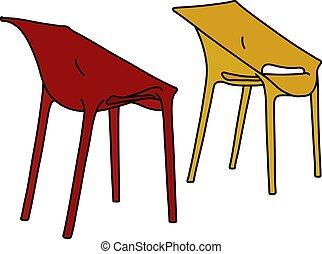 chaises, jaune rouge, plastique