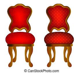 chaises, modèle, deux, rouges