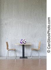 chaises, moderne, deux, flowers., intérieur, table