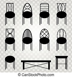 chaises, objets, noir, isolé, collection