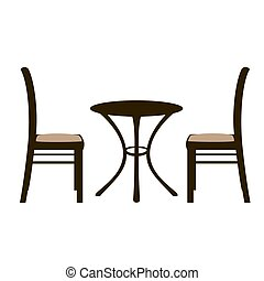 chaises, paire, table