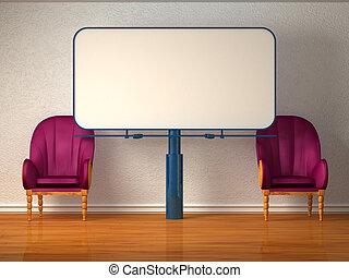 chaises, panneau affichage, luxueux, deux