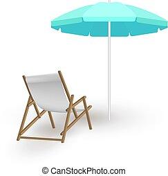 chaises, parapluie plage, pont