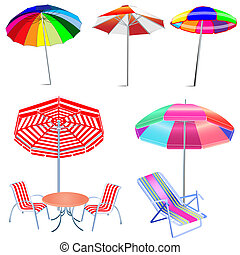chaises, parapluie plage, table, kit