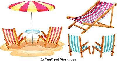 chaises, parapluie plage