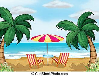chaises, parapluie plage, vue
