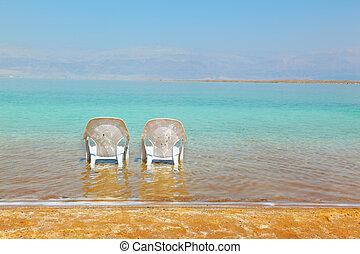 chaises, plage, deux, blanc
