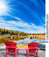 chaises, plage, deux, rouges, riverbank