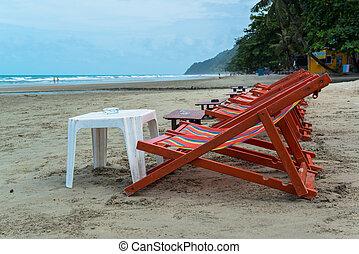 chaises, plage