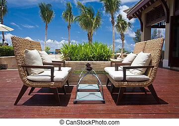 chaises, recours, extérieur