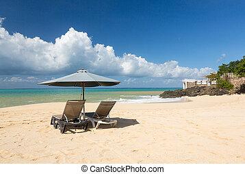 chaises, reposer, parapluie, baie rouge