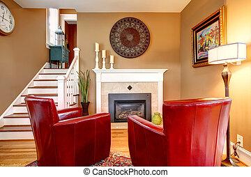 chaises, salle, famille, classique, bois dur, lumière, plancher, confortable, murs, conçu, tonalités, cheminée, rouges, beige