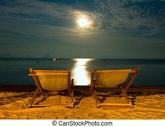 chaises, -, scène, exotique, recours, plage nuit