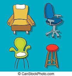 chaises, sofa, style., quatre, dessin animé