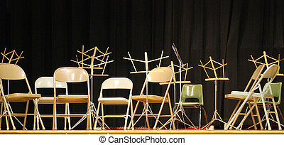 chaises, stands., musique