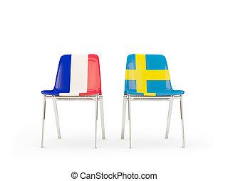 chaises, suède, drapeaux, deux, france