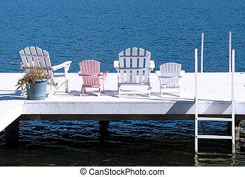 chaises, sur, a, dock