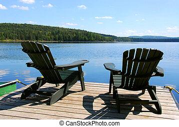 chaises, sur, dock