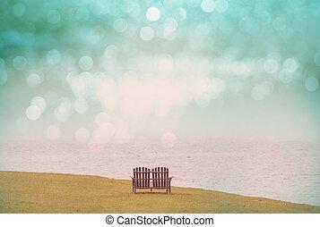 chaises, sur, les, lac