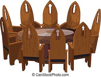 chaises, table, autour de, rond