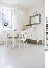 chaises, table, blanc