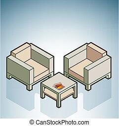 chaises, table, café, &
