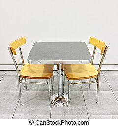 chaises, table, cafétéria, deux