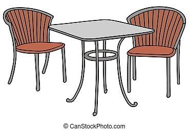 chaises, table, deux