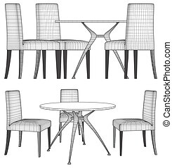 chaises, table, ensemble, vecteur