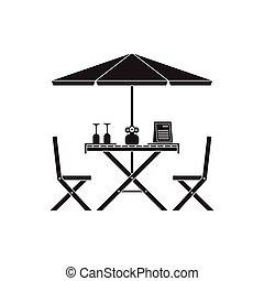 chaises, table, extérieur, conception, contour