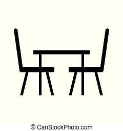 chaises, table, icône