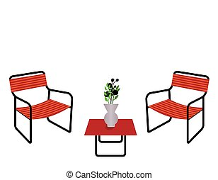 chaises, table, illustration