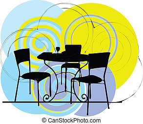 chaises, table, illustration, &