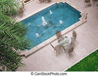 chaises, table, jardin