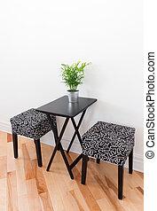 chaises, table, noir, deux