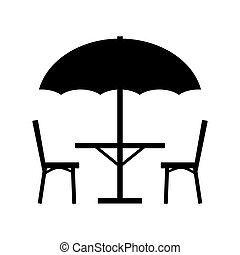 chaises, table, parasol, icon.vector, illustration