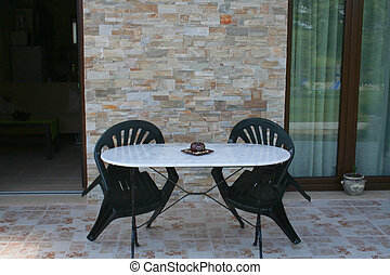 chaises, table, patio